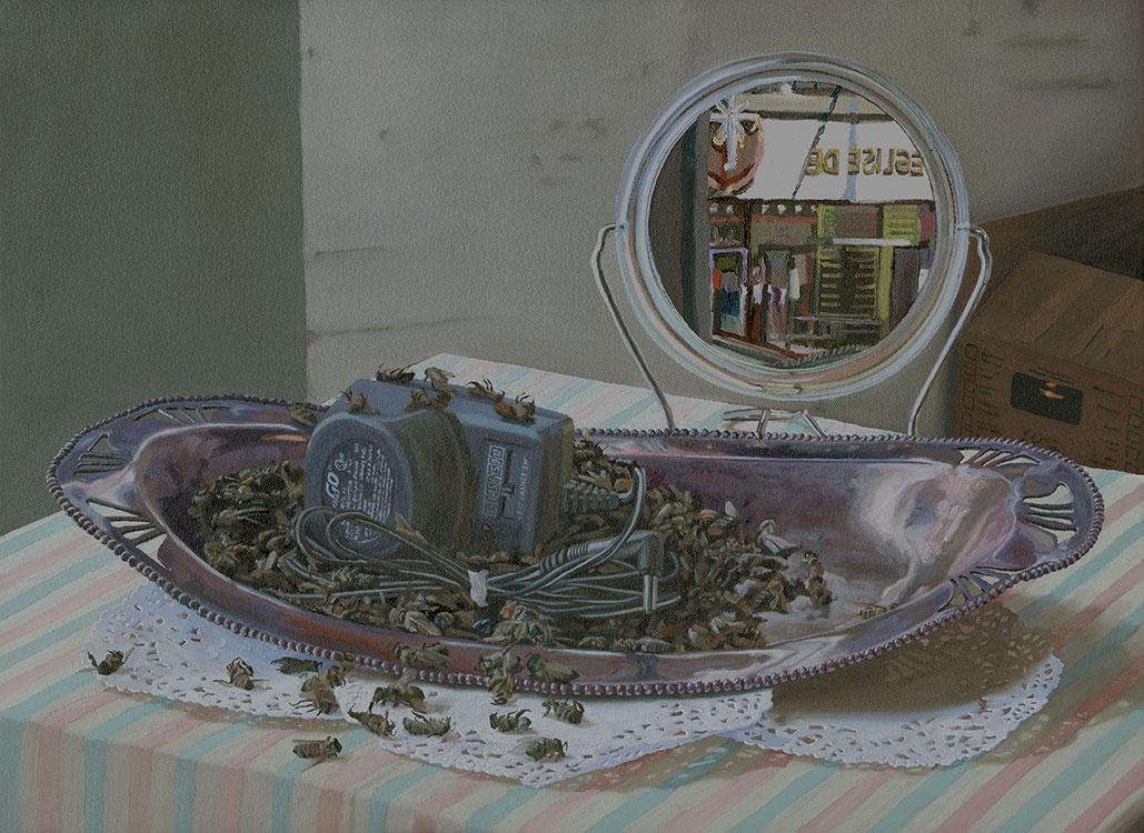 """AC/DC, huile sur toile, 38 x 51 cm (15"""" x 20""""), 2010"""