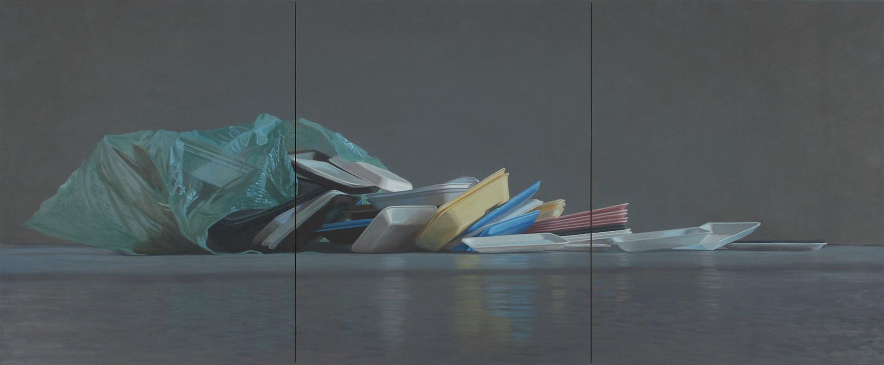 """Nature morte de barquettes de styromousse, huile sur panneau marouflé, 152x 366 cm (60"""" x 144""""), 2012"""