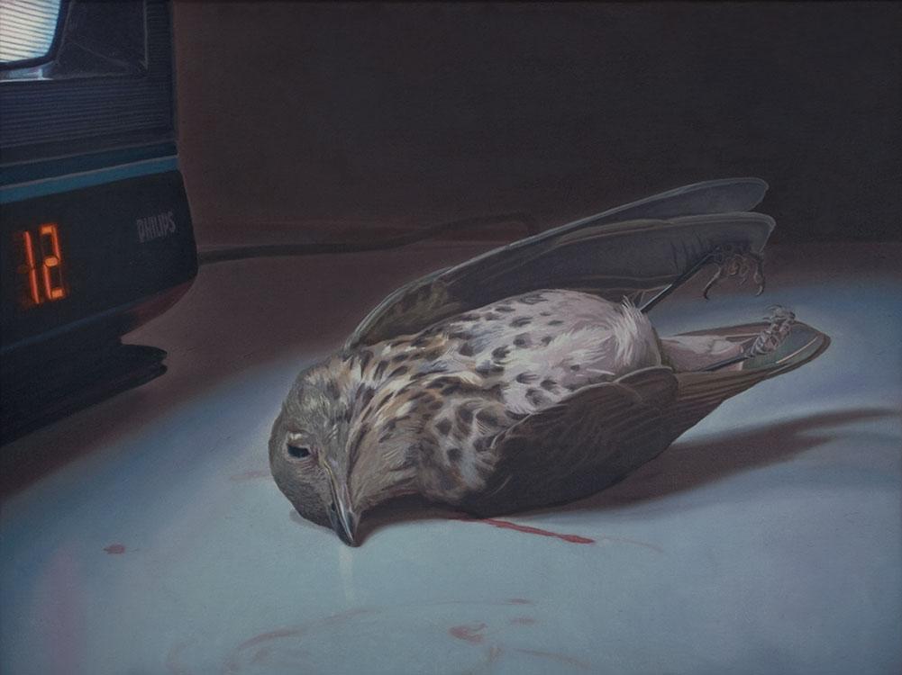 """Les Dernières Neiges ou la fin de l'ère cathodique (oiseau), huile sur panneau marouflé, 46 x 61 cm (18"""" x 24""""), 2013"""