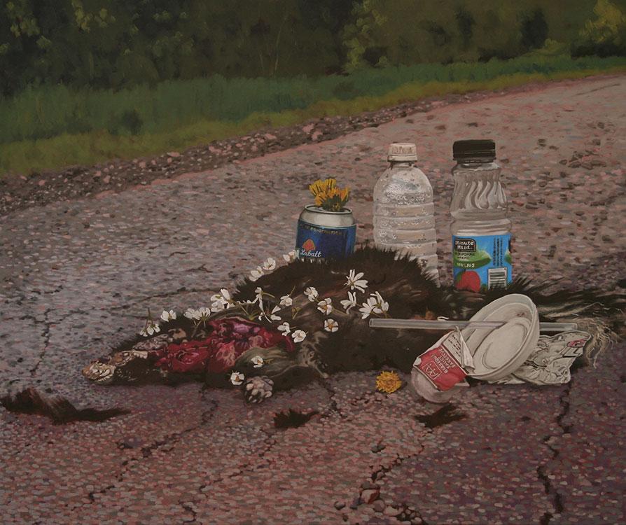 """Obsèques, huile sur toile, 61 x 79 cm (24"""" x 31""""), 2009"""