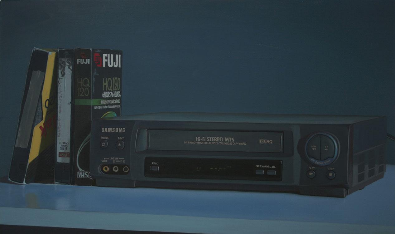 """VHS Blues (Samsung), huile sur toile, 100 x 168 cm (39"""" x 66""""), 2011"""