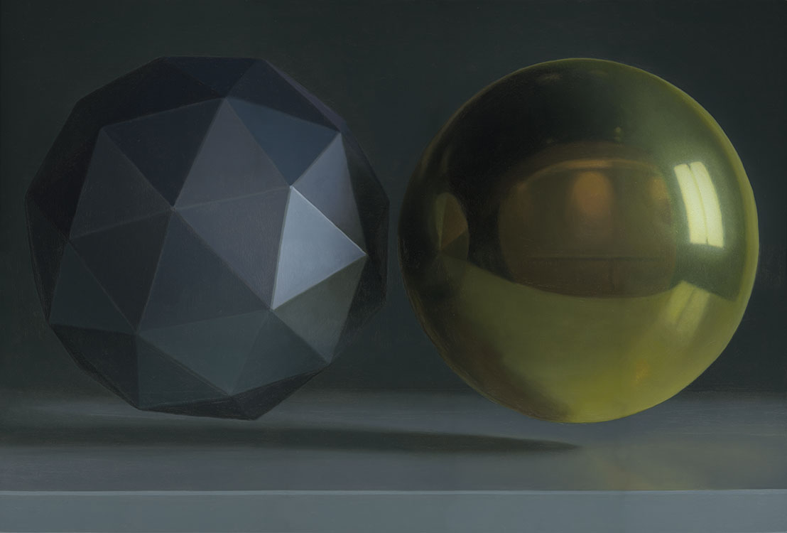 """Paradigme objet (géode de plastique et sphère dorée), huile sur panneau marouflé, 61 x 91 cm (24"""" x 36""""), 2016"""