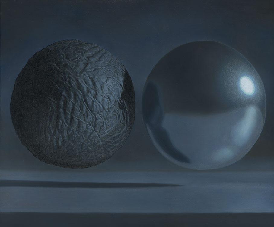 """Paradigme objet (sphère de plastique et éclat), huile sur panneau marouflé, 51 x 61 cm (16"""" x 24""""), 2016"""