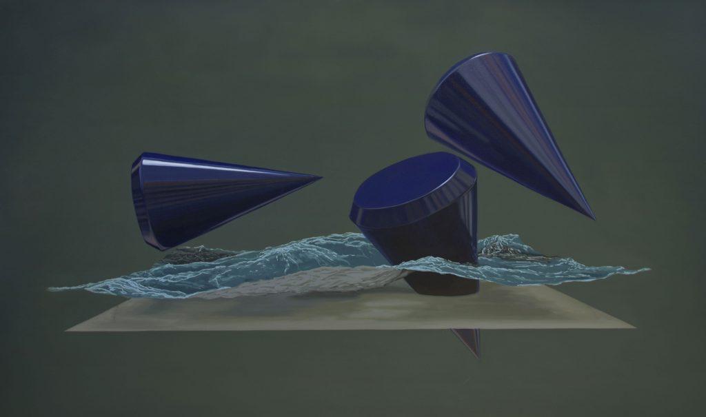 """Marine aux cônes bleus, huile sur toile, 100 x 168 cm (39""""x66""""), 2018"""