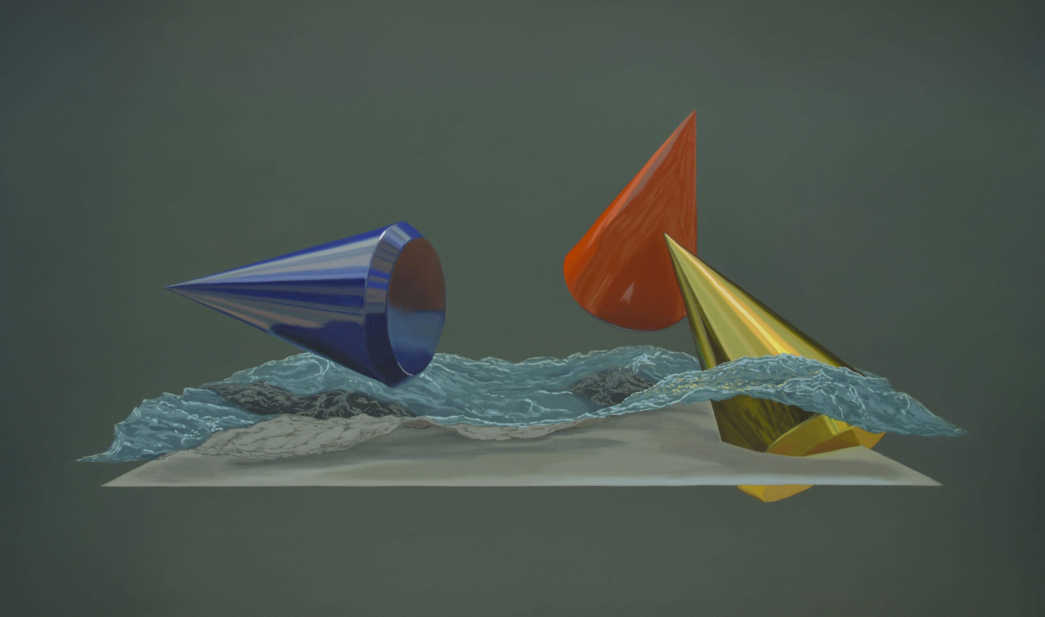 """Marine au cônes bleu, rouge et or, huile sur toile, 100 x 168 cm (39"""" x 66""""), 2018"""