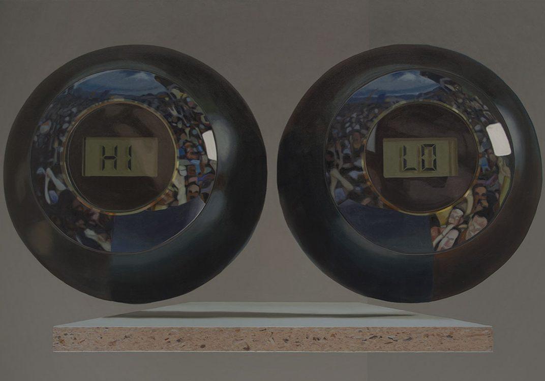 """HI&LO (devant la foule), huile sur toile, 188 x 283 cm (74"""" x 111""""), 2016"""