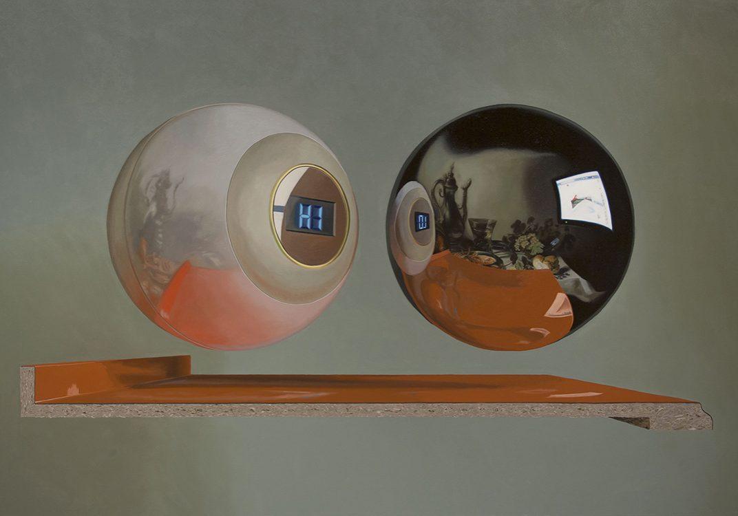 """HI&LO (devant Pieter Claesz), huile sur toile, 188 x 283 cm (74"""" x 111""""), 2016"""