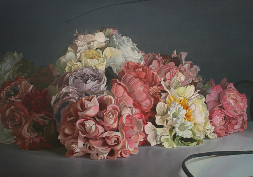 """Les Dernières Neiges ou la fin de l'ère cathodique (fleurs), huile sur toile, 100 x 168 cm (39"""" x 66""""), 2013"""