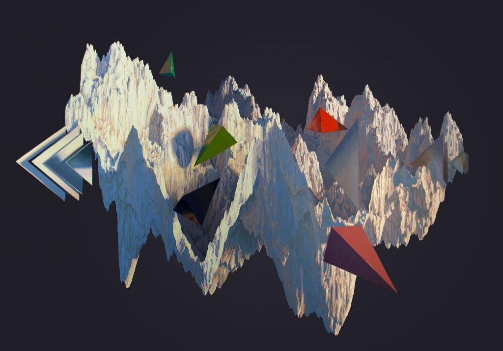 """Paysage de synthèse au levant, huile sur toile, 152 x 208 cm (60""""x82""""), 2018"""